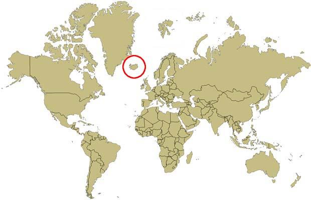 ou se trouve l islande sur la carte du monde Islande